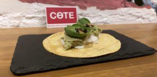 Taco de bacalao con pipian verde y espinaca baby, COTE, Mercado de Vallehermoso 2